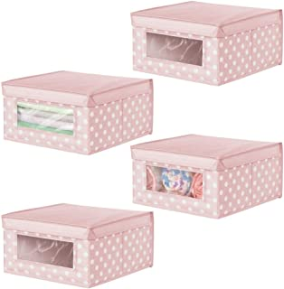 mDesign boîte de rangement en tissu moyenne (lot de 4) – panier de rangement empilable pour vêtements de bébé etc. – bac d...