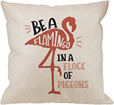HGOD DESIGNS Flamingo Pillow Covers,Decorative Throw Pillow Flamingo with quotes be a Flamingo In a Flock of Pigeons Pillow cases Cotton Linen Square Cushion Covers For Home Sofa couch 18x18 inch Pink