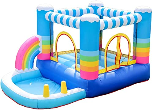 Trampolín para el hogar Parque de Atracciones para Niños pequeños Castillo Travieso Castillo de Delfines Arco Iris Castillo Inflable