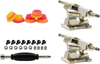 Teak Tuning Professional Fingerboard Trucks with Pink/Yellow Chuffs Signature Swirls Bubble Bushings, 32mm, Chrome Silver (Set of 2)