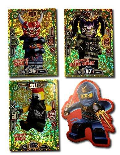 Serie 3 Ninjago Limitierte Gold Karten LE 19 LE 20 und LE 21 + Bonus Aufkleber