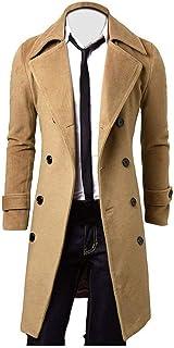 Cappotto Lungo da Uomo Uomo Cotone Slim Elegante Trench Taglie Comode Cappotto Doppiopetto Giacca Lunga Parka Girare Verso...