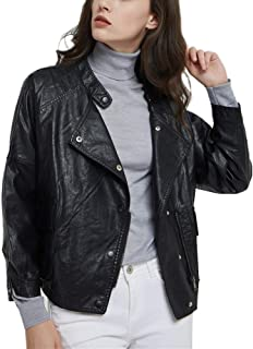 DISSA PP1899 Women Faux Leather Bomber Jacket Loose Coat
