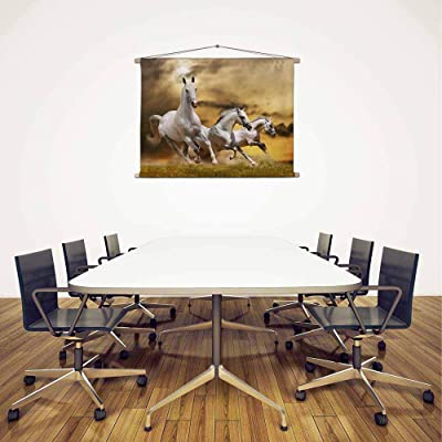 ArtzFolio White Horses D3 Silk Fabric Painting Tapestry Scroll Art Hanging 11.2inch x 8inch (28.5cms x 20.3cms)