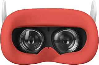 Esimen VR Face Silicone Mask Pad & Face Cover for Oculus Quest Face Cushion Cover Sweatproof (Red)