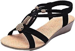1c878f84931d Chaussures Femme Ete 2016 Sandales Femmes Talon Compensé SoiréE Casual  Peep-Toe Femmes Plat Boucle