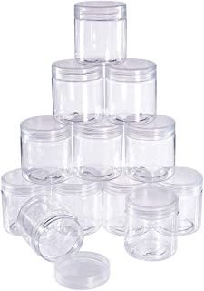 BENECREAT 12 Pack 2.4 Ounce Transparent Slime Storage Favor Jars Wide-Mouth Containers with Lids for DIY Slime,Ingredients,Party Favors and Other Crafts(2 x 2.2 Inch)