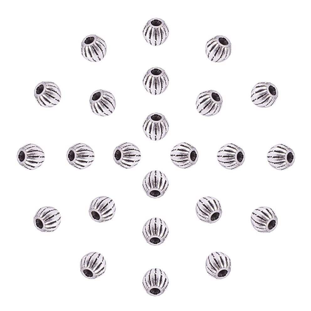 Pandahall 100pcs Antique Silver Tibetan Style Bicone Spacer Beads Metal Beads for Bracelet Making (4x4.5mm)