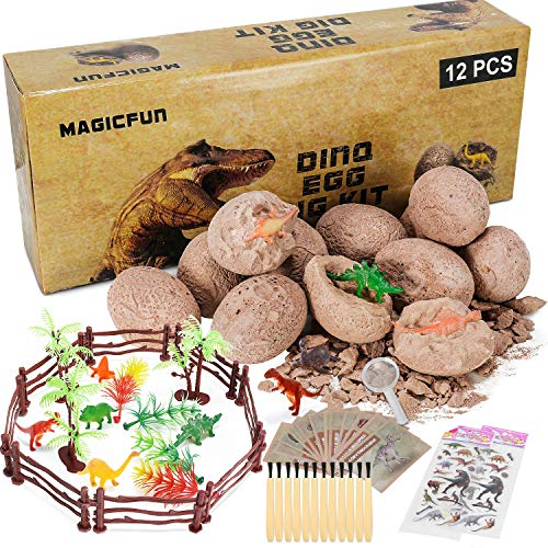 Magicfun Dinosaur Egg Dig Kit, Discover 12 Different Dino Eggs, Jurassic World Toys Set for 6 7 8 9 10 11 12 Years Old Boys Girls Kids Easter Party Archaeology Paleontology Educational Science Gifts