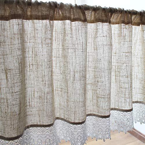 choicehot Baumwolle Leinen Küche Vorhang 90x120cm(H×B), Landhausstil Kurzgardine Romantisch Moderne Scheibengardine, Halber Vorhang für Küche Haus Fensterdekoration