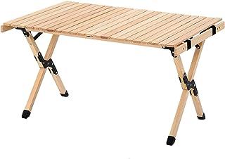ロールテーブル 木製 アウトドアテーブル 折りたたみ ウッドロールテーブル 軽量 収納バッグ付 キャンプ テーブル 天然木 折畳テーブルセット 耐荷重30kg 携帯便利 長さ90x幅60x高さ50cm