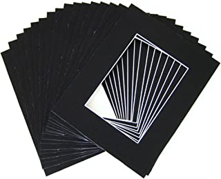 Pack of 25 11x14 Black Picture Mats Mattes with White Core Bevel Cut for 8x10 Photo +Backing +Bags