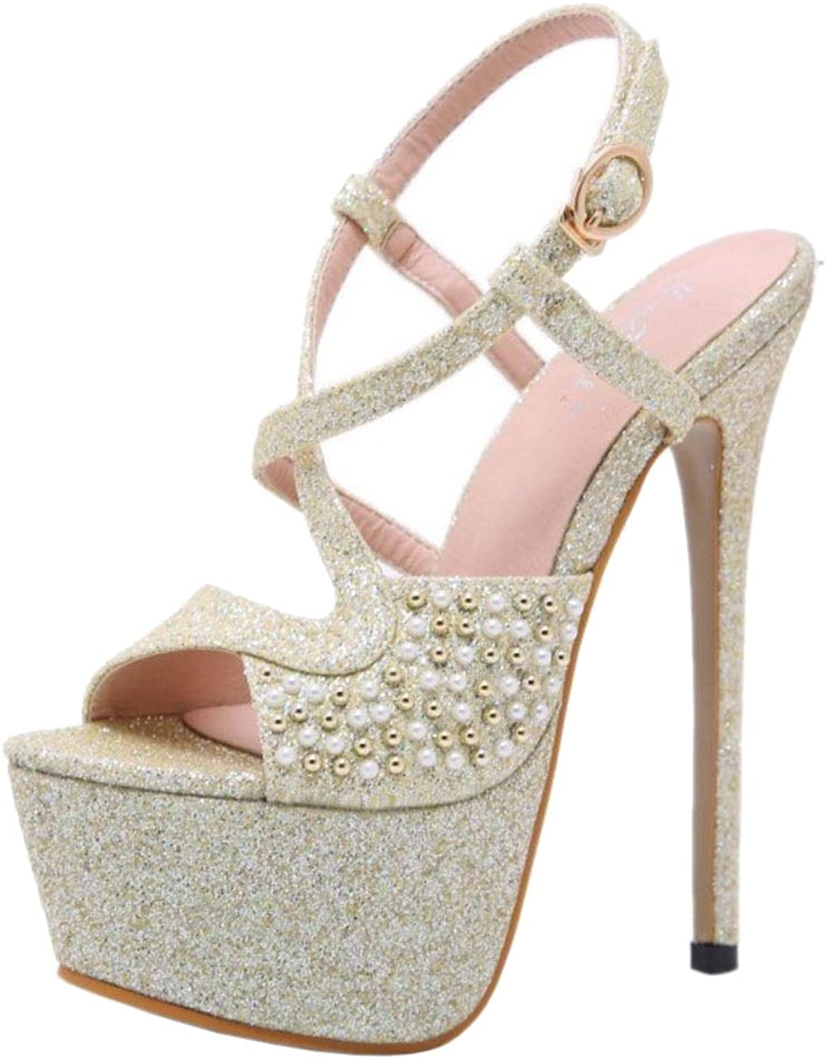 Lydee Women Fashion Stiletto Heels Sandals Evening Party shoes Pearl