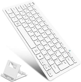 Ewin 「スタンド付き」 英語配列 bluetooth キーボード マルチペアリング アイ パッド キーボード タブレット用キーボード ipad ダブレット スマホ US配列 mac android ios Windows対応 (ホワイト)