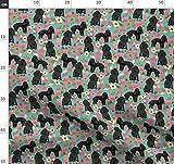 Pudel, Blumen, Hawaiisch, Hund, Hunde, Hunderasse Stoffe - Individuell Bedruckt von Spoonflower - Design von Petfriendly Gedruckt auf Bio Baumwollsatin