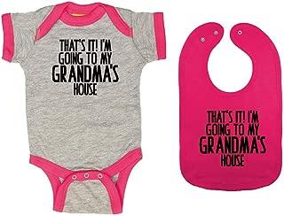 That's It! I'm Going to My Grandma's House - Baby Ringer Bodysuit & Premium Bib Gift Set