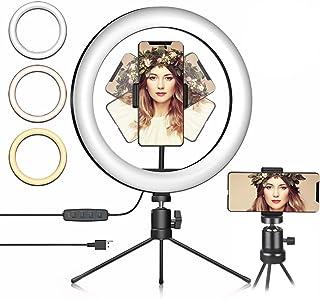 Ringlicht Selfie Licht mit Stativ Led Ringleuchte mit 3 Farbe und 10 Helligkeitsstufen Handy Stativ Tisch Ringlicht für Foto  und Videoaufnahmen.