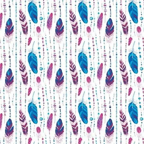 Erstklassiger Baumwollstoff 0,5lfm, 100{bab8e5dbd38ea5afa780189f2ed7b9ae39267d2f72664bf0eecdaa8f7bfe3970} Baumwolle, modische Muster, Breite 160cm - Blau Rosa Feder