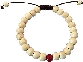 Tibetan Mala Yak Bone Wrist Mala/ Bracelet with Coral Spacer