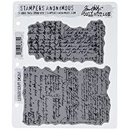Stampers Anonymous Tim Holtz Cling Rubber Stamp Set, 7″ by 8.5″, Ledger Script