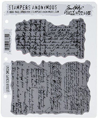 Stampers Anonymous Tim Holtz Cling Rubber Stamp Set, 7' by 8.5', Ledger Script