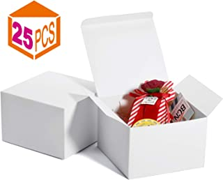 MESHA White Gift Boxes 5x5x3.5 inches, White Boxes for Gift, Paper Gift Boxes with Lids for Gifts, Mugs, Cupcake Boxes(25PACK)