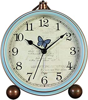 JUSTUP Table Clock, Vintage Non-Ticking Table Desk Alarm Clock Battery Operated with Quartz Movement HD Glass for Bedroom Living Room Kids (Butterfly)