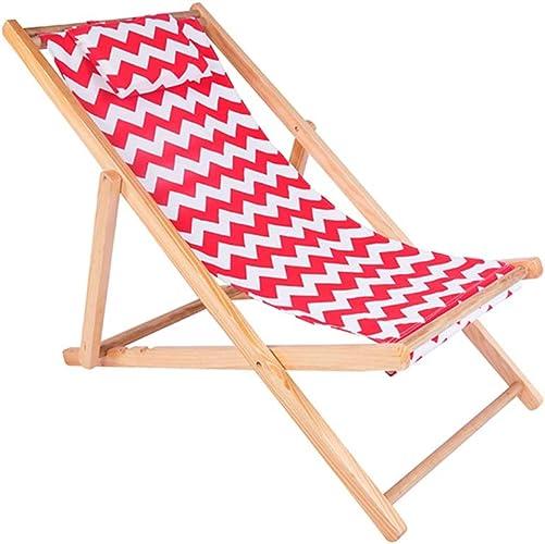 Chaises Pliantes Chaise Pliante de Plate-Forme de Salon en Bois portatif de Plage de Balcon de Plage de Balcon + Vague Blanche pesant 80kg