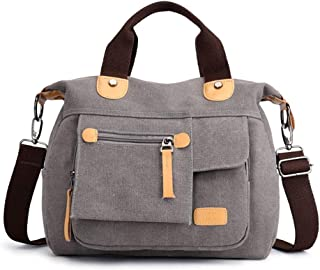 Women's Shoulder Bag Messenger Bag, Canvas Material, Simple Retro Style, Large Capacity and Multi-Pocket, Suitable for Travel, Office, Dating, Shopping,Gray