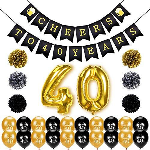 Konsait 40. Geburtstag deko, Cheers zum 40. Geburtstag Girlande, Große 40 Jahre Folienballons, Papierblumen, Pom Poms, 20Stk schwarz und Gold Latex Luftballons Dekoration für 40 Geburtstagsfeier