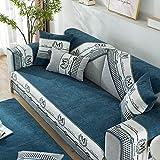 Protector de Muebles Funda de sofá de esquina,funda de sofá de estilo nórdico,chenilla,fundas de asiento de sofá universales de cuatro estaciones,manta de muebles,funda de reposabrazos-Azul elé