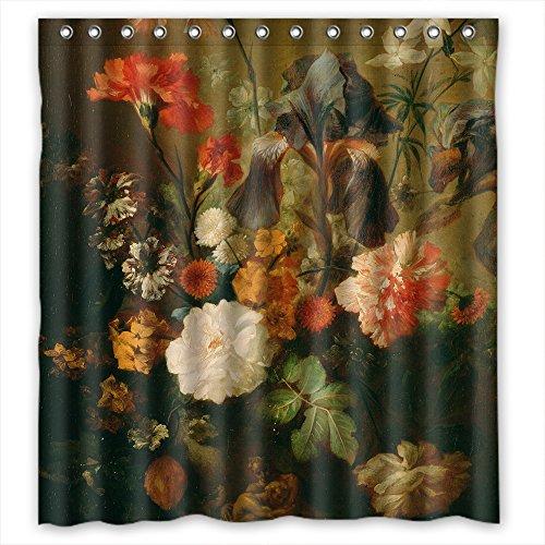 Comeciti Badezimmer-Gardinen der berühmten klassischen Kunst Gemälde Blumen Blüten Polyester Breite x Höhe 180 x 180 cm Beste Passform für Geburtstag Kinder Jungen Liebhaber