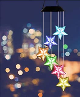 Blue Star Wind Chime Color Changing LED Star Solar Wind Chime Wind Mobile Waterproof Outdoor Decorative Romantic Wind Bell...