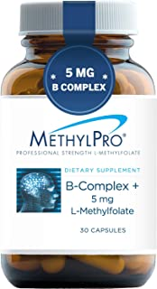 MethylPro B-Complex + 5mg L-Methylfolate (30 Capsules) - Professional Strength B Vitamins for Energy, Mood + Immune Suppor...