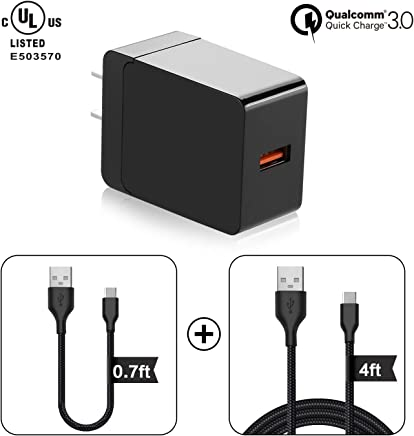 Qualcomm Certified/UL Listed 18W Quick Charge 3.0 Wall Charger, QC2.0/3.0 Adaptive Fast Charge AC Adapter with 0.7Ft/4Ft Micro USB Cable Compatible with Samsung Galaxy S7/S6, LG, Sony and More (Black)