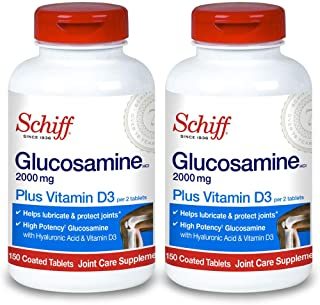 Sponsored Ad - Schiff Glucosamine With Vitamin D3 & Hyaluronic Acid, 2000mg of Glucosamine, Joint Care Supplement Helps Lu...