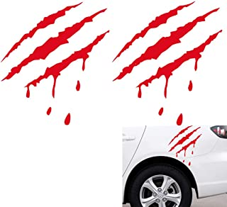 AMOUTOR 2 Pack Bloody Claw Marks Decal, Car Styling Scratch Stripe Bloody Claw Marks Stickers Fit for All Automobile (Red)