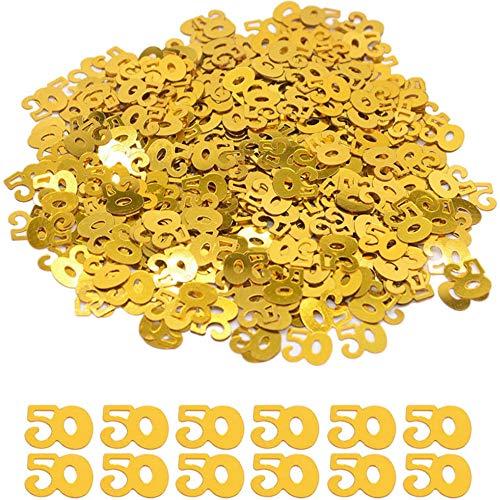 DIWULI, verjaardagsnummer confetti goud, nummer 50, edele tafel confetti, tafeldecoratie, glitter, verjaardagsversiering, strooidecoratie voor verjaardagsfeestje, mottofeestje, 50e verjaardag
