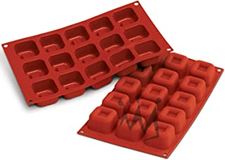 "Silikomart Professional SF081 Silicone Baking Mold Square Savarin 1.52 Oz Volume, 1.89"" x 1.89"" x 1.16"" High, 15 Cavities..."