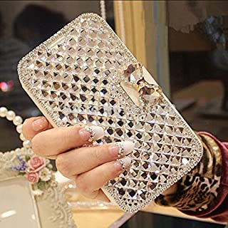 LG G7 Case, LG G7 ThinQ Wallet Case, Luxury Bling Diamond Bowknot Shiny Crystal Rhinestone Purse PU Leather Card Slot Pouch Flip Cover Kickstand Case for Girl Woman Lady (Clear)