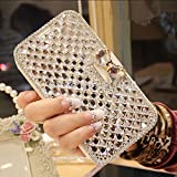 Oppo F7 Wallet Case,Bling Diamond Bowknot Shiny Crystal Rhinestone Purse PU Leather Card Slot Pouch Flip Cover Kickstand Case for Girl Woman Lady (Clear)
