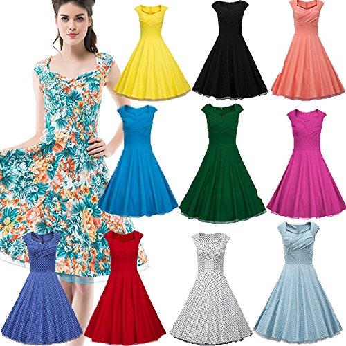 Dresstells 50er Retro Audrey Hepburn Schwingen Pinup Polka Dots Rockabilly Kleid Black 2XL - 5