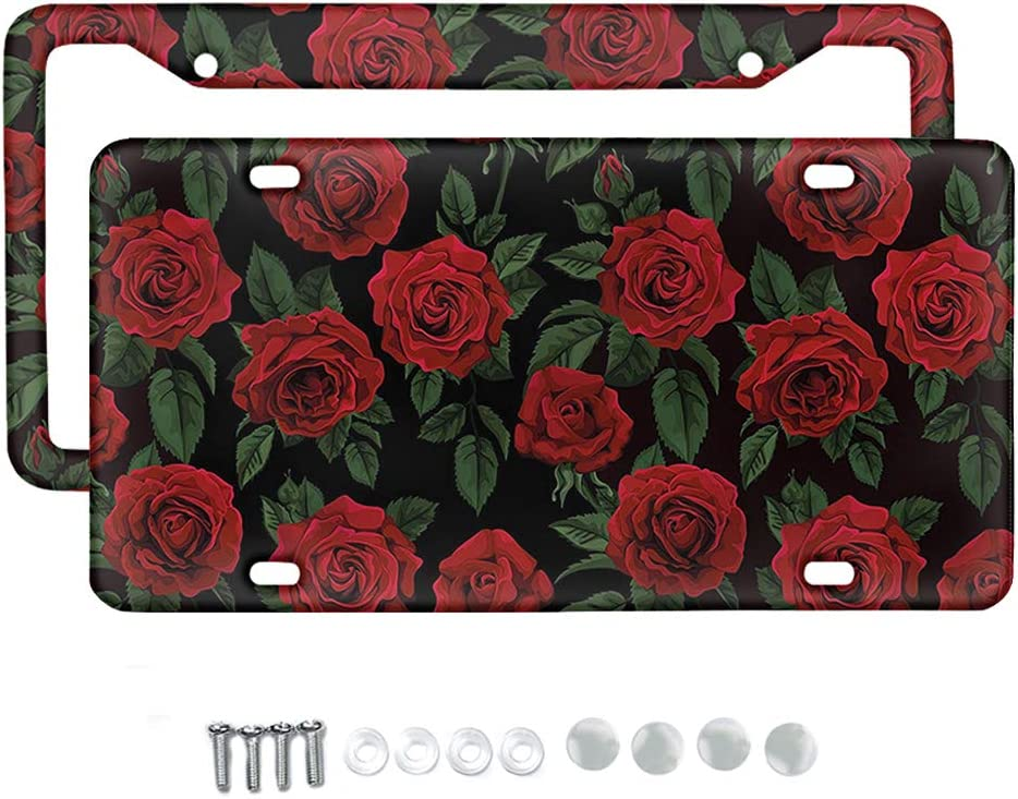 KUIFORTI Red Large-scale sale Rose Designs 2pcs License Cover Plate Frame Sales of SALE items from new works Al with