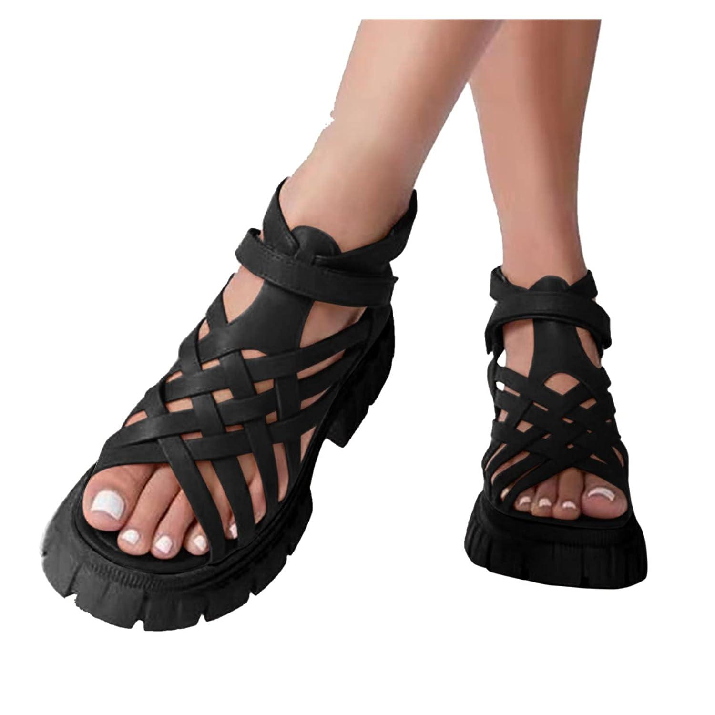 Padaleks Hollow Open Toe Sandals for Women Soft PU Leather Vinta