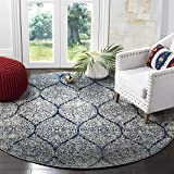 Safavieh Madison Collection MAD604G Geometric Ogee Trellis Distressed Area Rug, 6' 7' Round, Navy/Silver