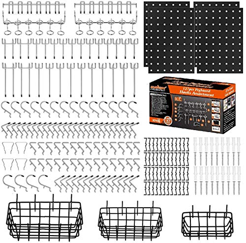 HORUSDY 208-Piece Pegboard Hooks Assortment (Contains 81pcs Accessories),Pegboard Accessories with 3 Pegboard Baskets Organizing,4 Small Pegboard for Organizing Various Tools