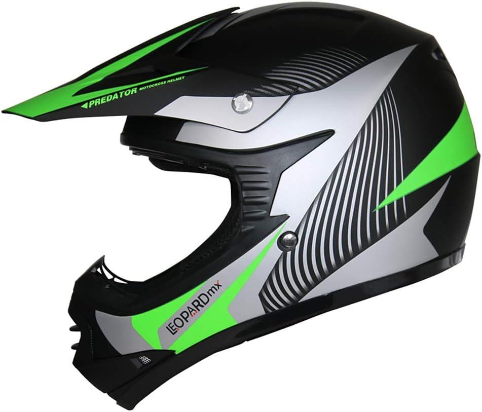 Verde S Leopard LEO-X19 Casco de Motocross para Ni/ños y Guantes y Gafas de Moto 49-50cm - Bicicleta Motocicleta ATV Patio ECE 22-05 Aprobado