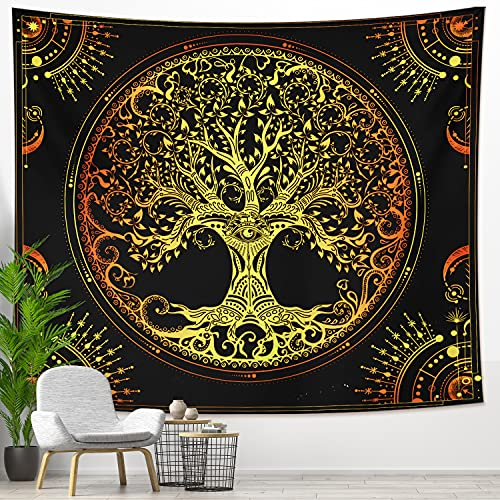 DESIHOM Celtic Tree of Life Tapestry Wall Hanging 59 x 51 Inch, Fairy Forest Tapestry Magical Tapestry Fantasy Tree Tapestry for Bedroom Dorm Living Room