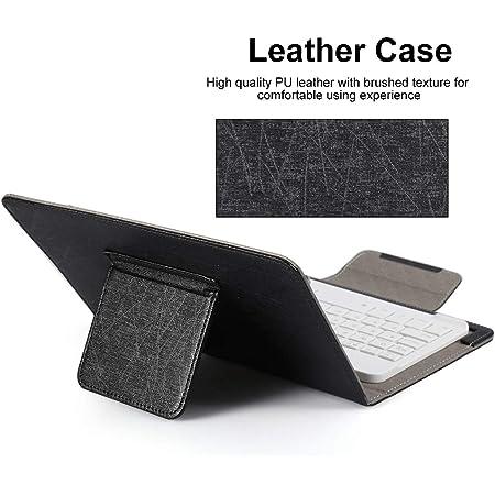 Sutinna Teclado Universal para computadora portátil con Tableta Bluetooth de 10 , Estuche Protector de Cuero PU con Soporte y Teclado Bluetooth para ...