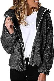 iHHAPY Women Winter Coat Warm Cardigan Zipper Coat Lapel Plush Winter Jacket Casual Thick Jacket Faux Fur Outwear Solid